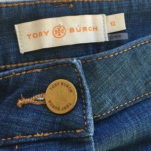 Tory Burch button up denim skirt